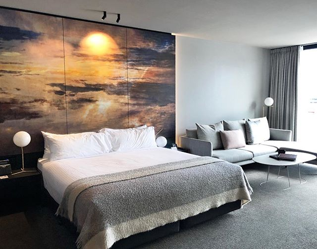 The best nights sleep ☁️ complete with pillow menu & with sublime bedhead artwork by local artist Troy Ruffels @Macq01 Hotel  #TransWorldTravel #travelagents #luxurytravel #luxuryhotel #MACq01 #Hobart #Tasmania #TroyRuffels #artwork