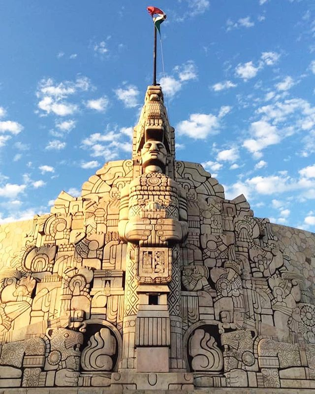 The famous Monument to the Fatherland, by Romulo Rozo in Merida 🗿a stunning sculptural work depicting an important part of Mexican history from the founding of Tenochtitlan until mid-twentieth century.  #TransWorldTravel #travelagents #luxurytravel #travelinstyle #Mexico #Merida #Yucutan #RomuloRozo #HomelandMonument