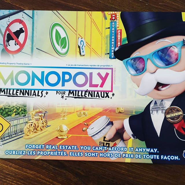 """Forget real estate, you can't afford it anyway""😁😁 . . . #yyc #yycliving #monopoly #monopolyformillennials #boardgame #poorpeoplemonopoly #fun #christmasfun"