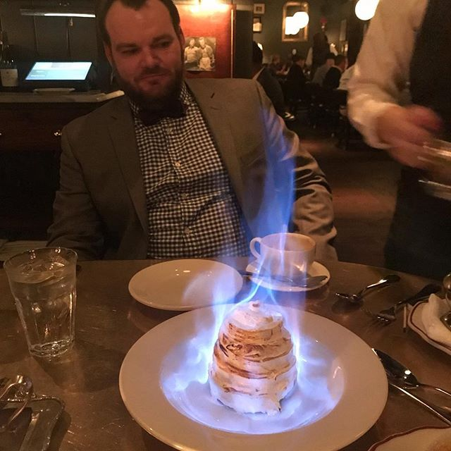 @benhollerbach surveying the flambé of a baked Alaska. #merrychristmas