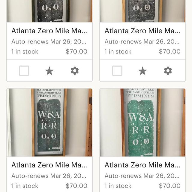 All of our remaining #atlanta zero mile marker prints have been reduced by 30%. We need room to do more projects in the new year.  If you've been eyeing one this is the time to get it.  Once they're gone they're gone. . . . #milemarker #00 #W&A #atlanta #history #atlantahistory #zeromilemarker #zero #westernandatlantic #atlantaart #atl #terminus