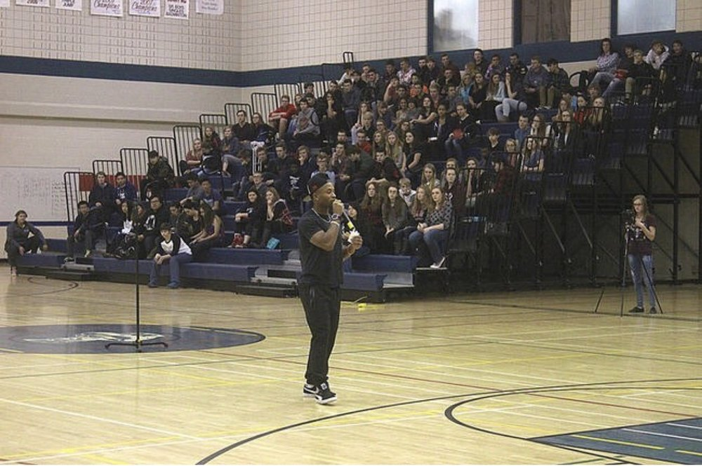 Speaking about hope to the students of Strathmore High