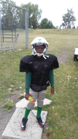 Jamarri on his first day of football practice with pads!