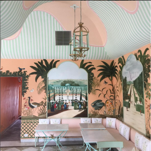 Apricot and mint if you please. The gorgeous Caffe Palladio in Jaipur, from Megan's recent India trip. Image: Megan Morton Instagram