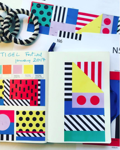 Spot, stripe, stroke. The sketch book of Camille Walala.Image: Camille Walala Instagram