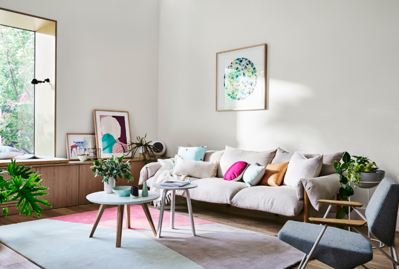 A neutral interior can be personalised with simple pops of colour. Image: Dulux Inspiration Gallery