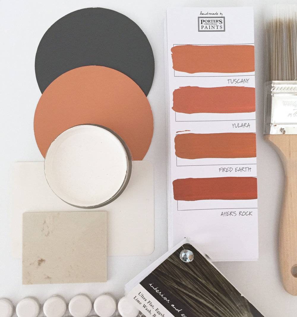 Paint and material samples with brush