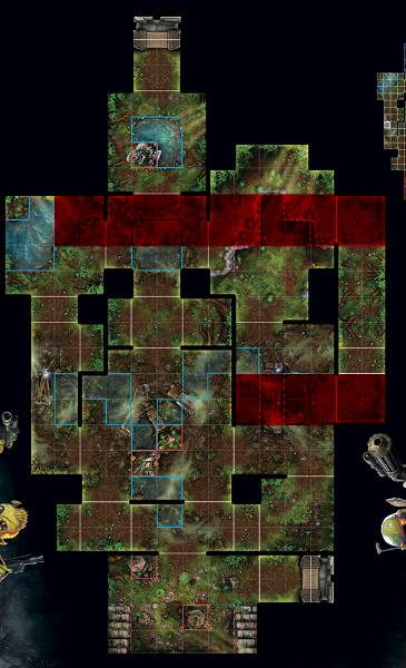 Similarly, the right corridor offers the same protection.  Assuming an opponent can't move into the corridor with you, units in the center of the corridor are safe from attackers.