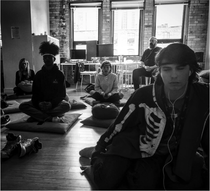 / /April 26, 2017 - OSF @ MUSE - Youth from OSF stopped by the Interaxon studio for a UN//TY lead meditation using the MUSE. Use of this technology gave the students a new perspective of mindfulness by empowering them with real time bio-feedback from their brains during meditation.