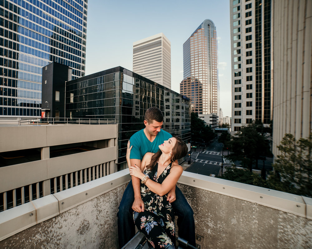 Uptown Charlotte Engagement Photo