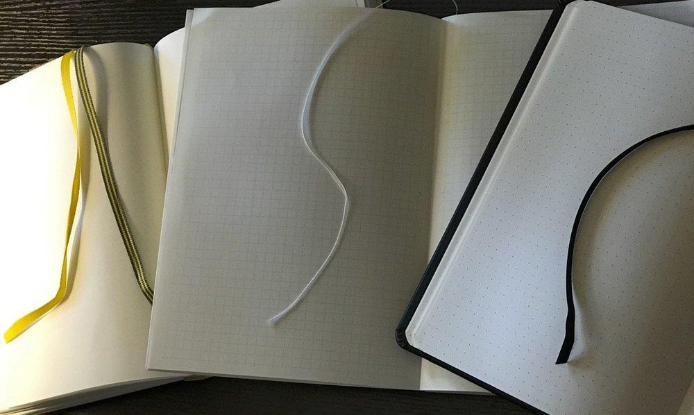 The three notebooks tested that had ribbons. L–R: Leuchtturm1917, Midori MD, Rhodia Webnotebook.