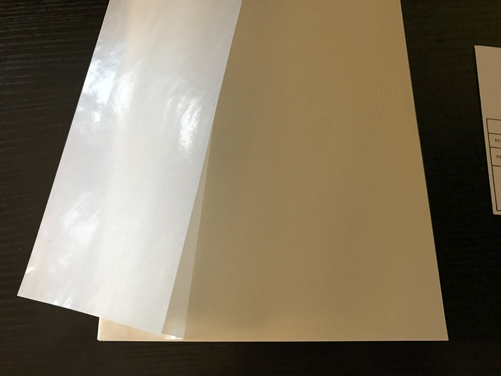 The Midori MD came with a wax-paper-like dustjacket.