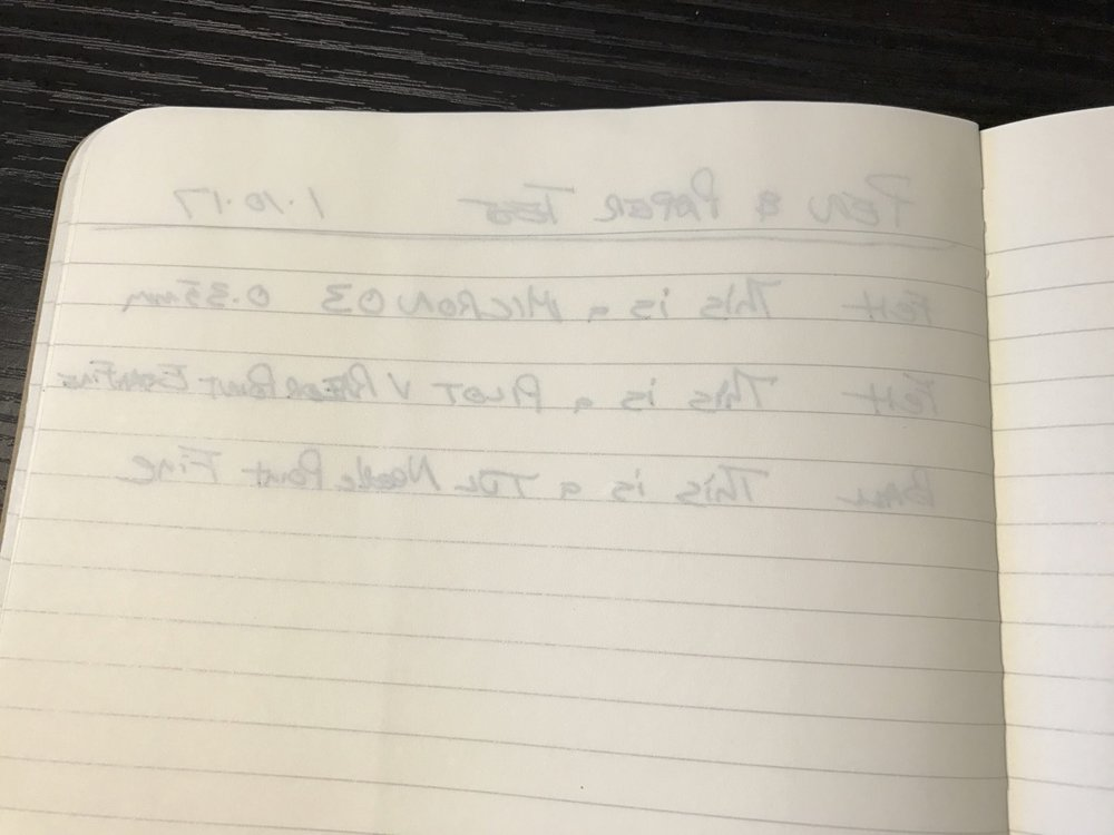 The Moleskine paper exhibited the most noticeable ghosting of all the notebooks tested.