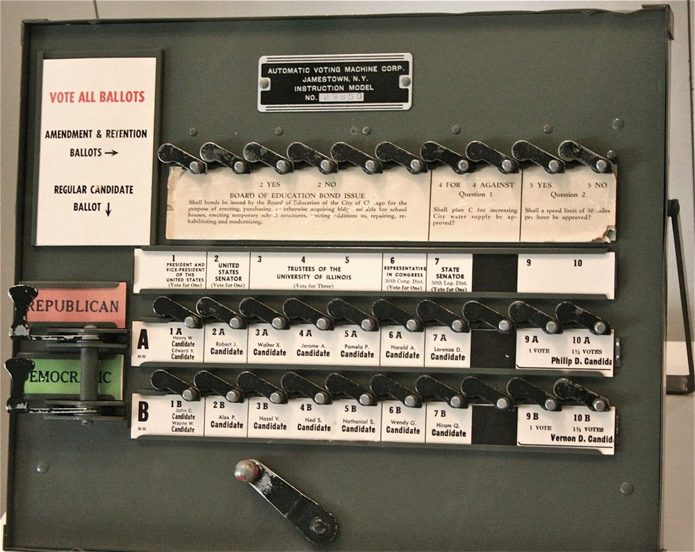 Photo of old mechanical voting machine: RadioFan.