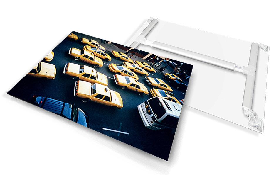 Satin sheet Print with mount. -  12 color photo Satin Prints are made on a high-quality plastic sheet then completed with a revolutionary new mounting system. The lightweight tension system makes for quick and easy assembly.