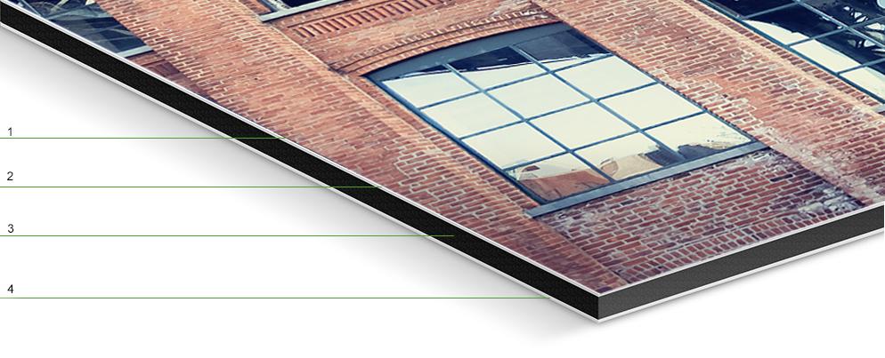 1. matte laminate finish  2.  photo print  3. black polyethylene core  4. aluminum Dibond backing