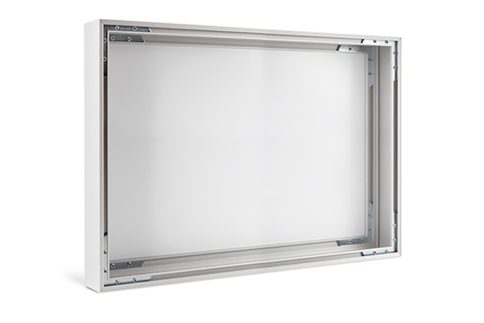 The picture hanging system is integrated in the frame