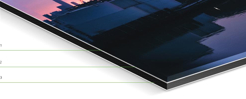 1. Acrylic glass 2.Photo paper &elastic silicone 3.Sturdy aluminum Dibond backing
