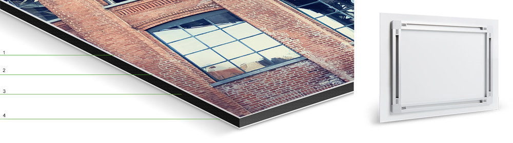 "1.  matte laminate finish    2.   photo print    3.  black polyethylene core     4.  aluminum Dibond backing   These prints are a fantastic medium for presenting my photos by adhering the print directly onto specially coated aluminum sheets.    They are continuous-tone, true photographic prints that are exposed digitally with lasers for exceptionally sharp image detail . The digital C-Type production technique offers quality and classic photographic archival print properties.     The print is adhered to an  1/8"" aluminum Dibond backing which is made of a black polyethylene core sandwiched between 2 aluminum sheets. This forms a triple-layered composite material, ensuring stability. A UV protective laminate is applied to the surface of the photo print to protect against UV rays and dust. A low profile track brace for easy hanging is then adhered to the back of the finished product which floats the print  1 inch off the wall."