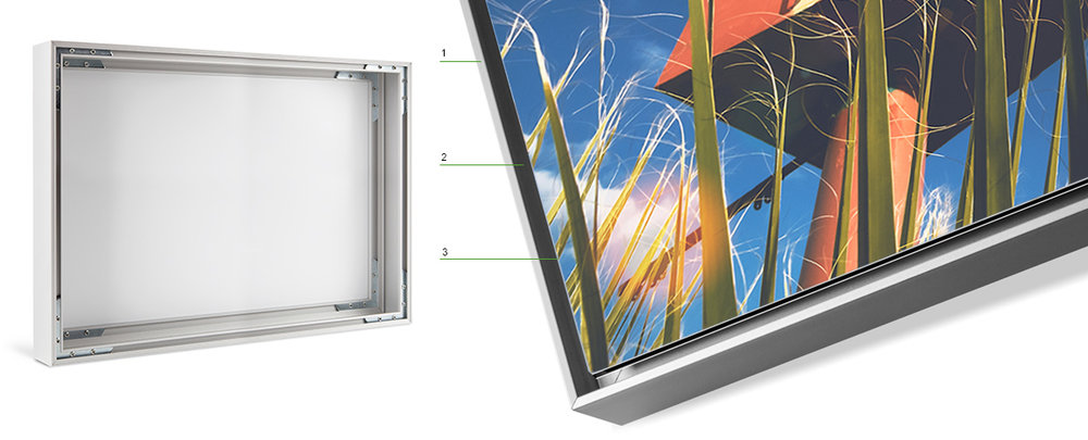 1.    Aluminum Frame    2.    The small gap between the picture and frame,   3.   makes the image appear to be floating.   A striking, durable & modern all metal box style frame to compliment my art is available in black or silver for ACRYLIC and METAL prints.     It is the perfect choice to show off my art  prints as a   small gap between the picture and frame is simple and effective  in creating an optical illusion making the image appear to be floating.     Since the picture and frame are visually separated, my art print  stands out and creates a detached impression.    The picture hanging system is integrated into the frame and comes ready to hang right out of the box.