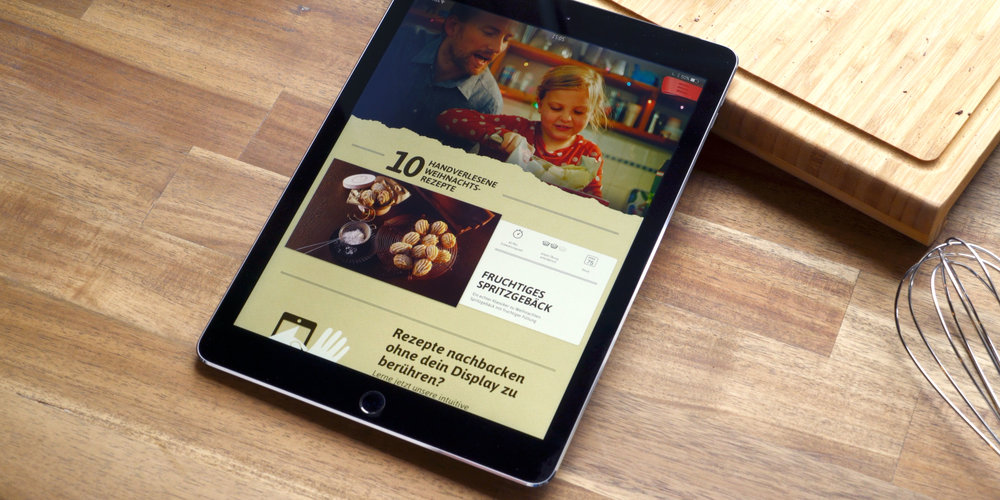 The home screen presents the recipes in a modern, simplistic way. Scroll through until you feel inspired to bake.