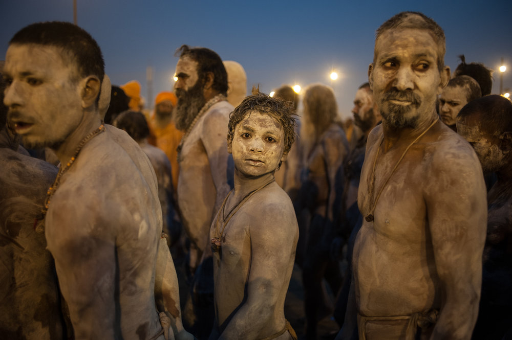 Sadhus preparing to return to their camp
