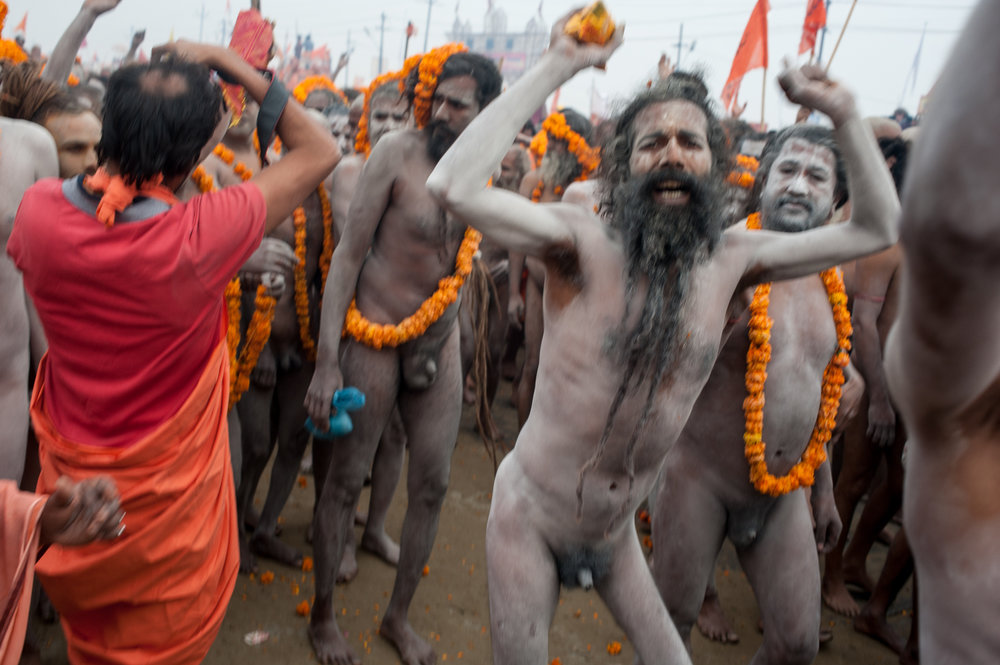 Sadhus preparing to go to the Ganges