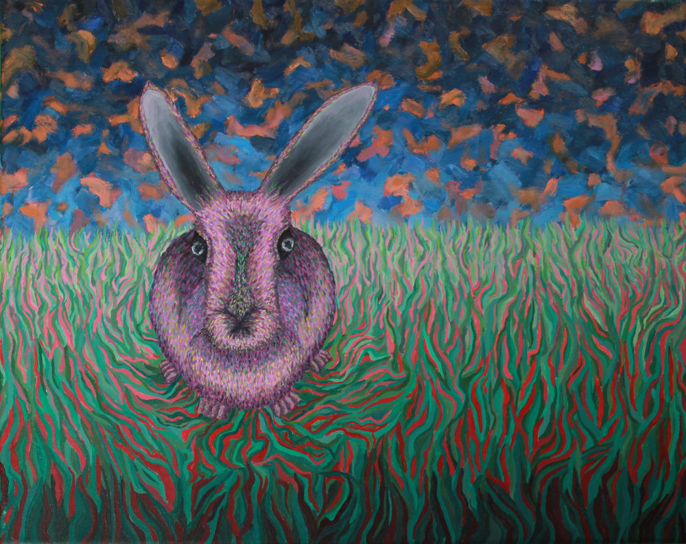 Rabbit in grass, painting by Yagama