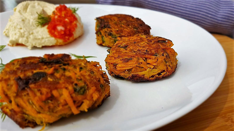 Delicious Fritters and home-made humous