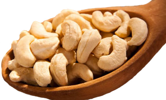 healthy copper rich cashew nuts on a spoon. a great nutritional therapist tip