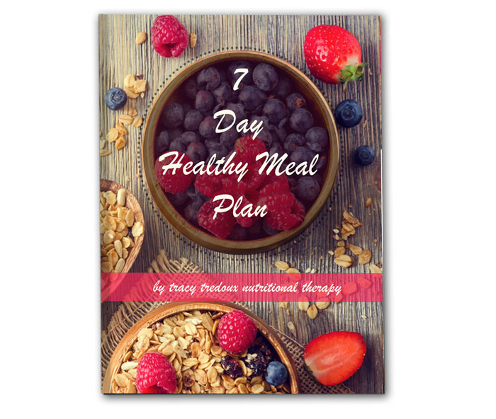 A 7 day healthy eating plan by London nutritional therapist, Tracy Tredoux. Free eBook with meal-by-meal recipes.