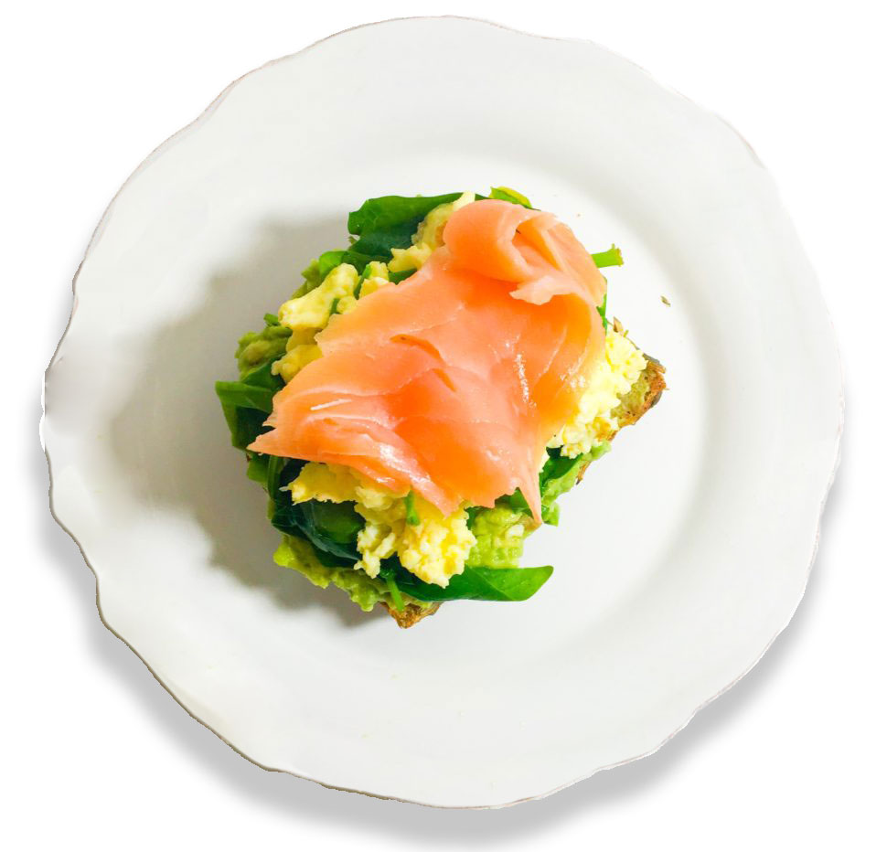 scrambled eggs with smoked salmon and spinach