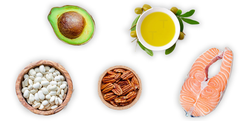 a selection of healthy fats to include in a nutritional therapist recommended diet