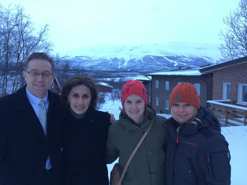 Michael Layne (Economic Unit Chief), Ambassador Azita Raji, Lotta Norberg (Cultural Affairs Assistant, and Kristy Plan (Political Economic Assistant) at the Abisko Scientific Research Station