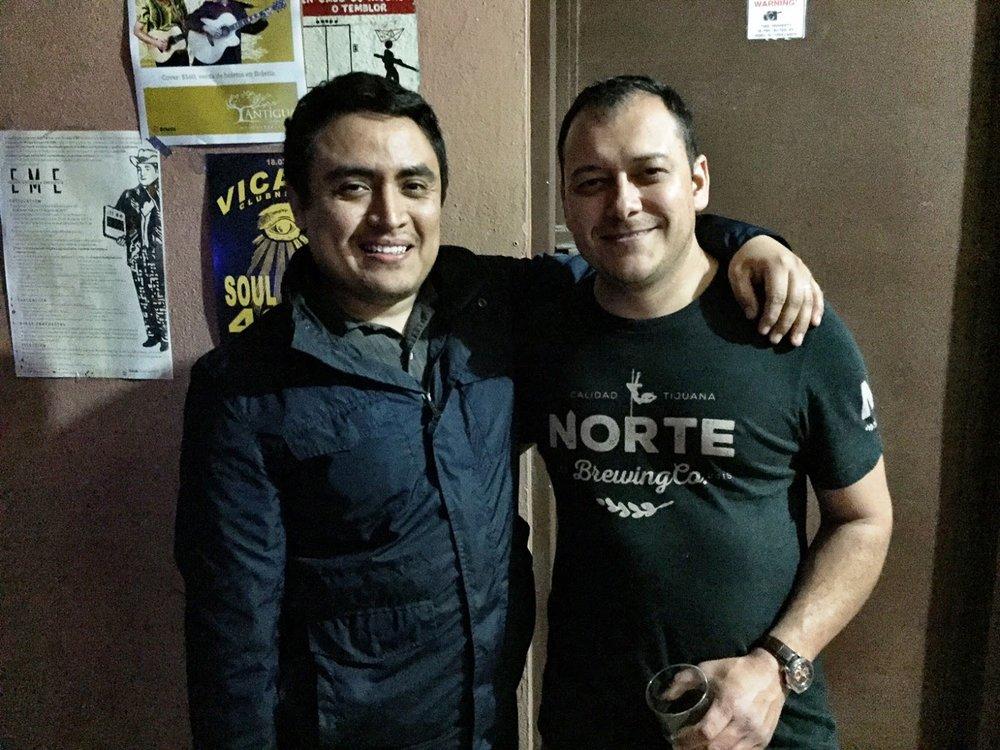 Carlos Macklis (R) of Norte Brewing in Tijuana, with his head brewer.