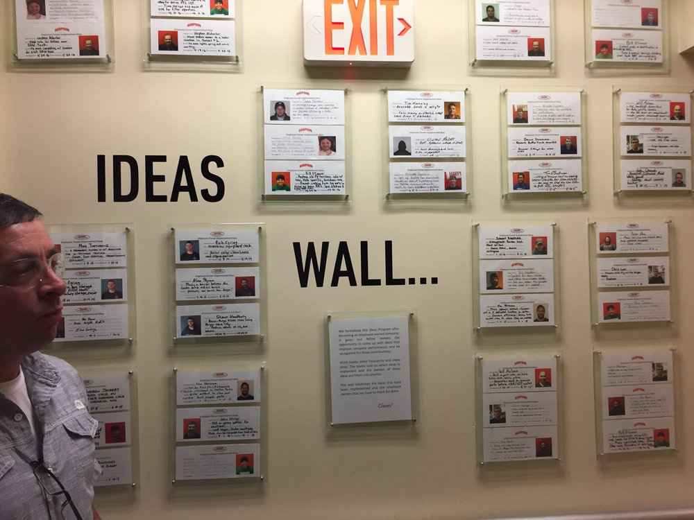 Employee idea wall.