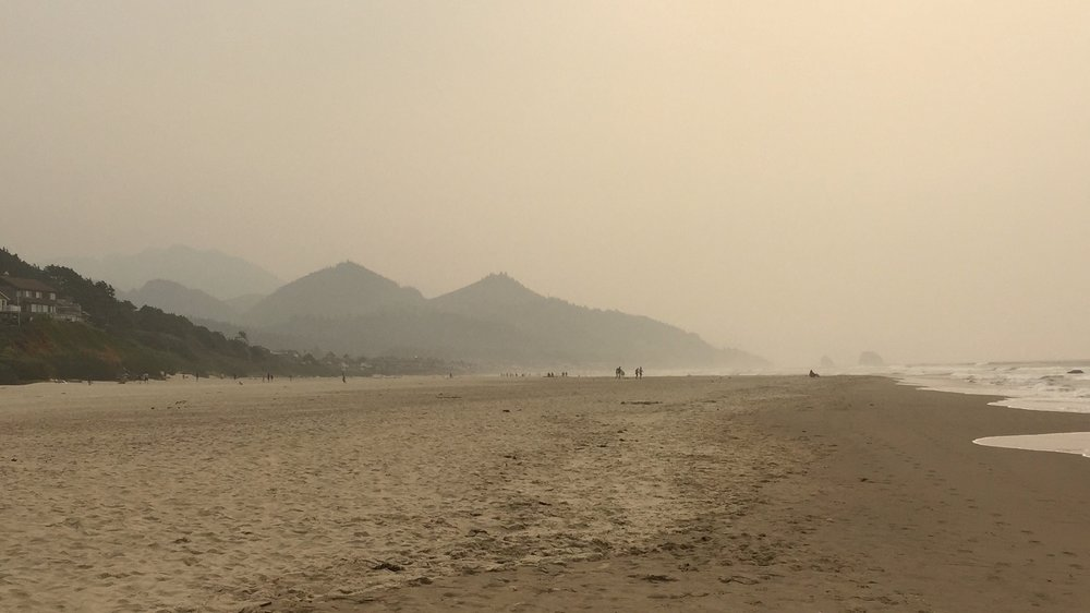 There were no clouds on the beach when I took this photo--that's all smoke.