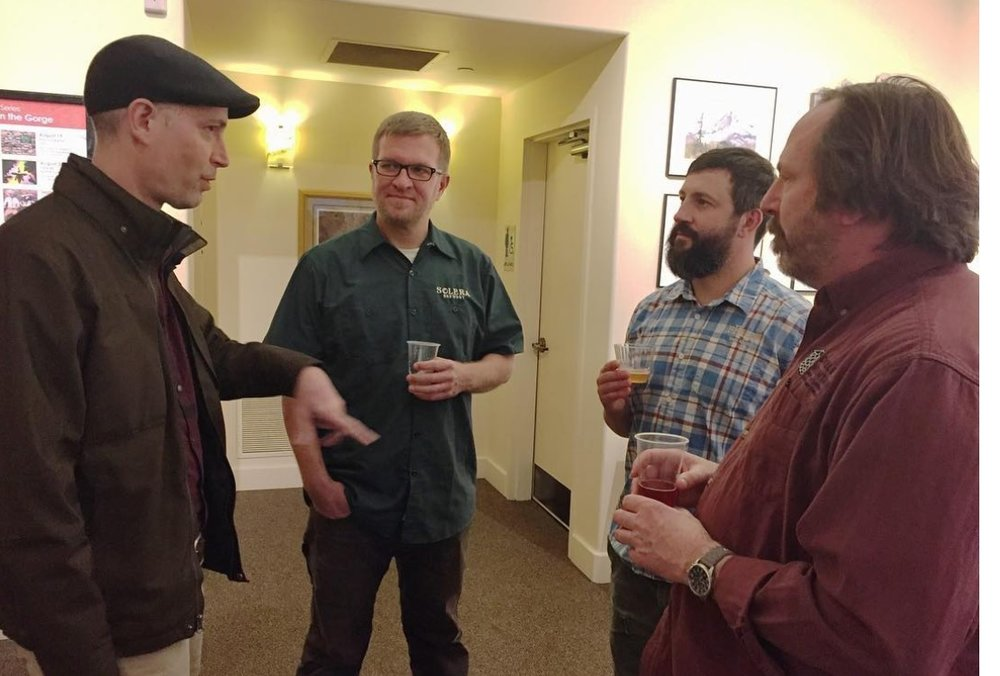 My book launch in Hood River. Appropriate because these gents, all from the Hood River region, all have a chapter in the book. (from left, me, Jason Kahler, Josh pFriem, and Matt Swihart.)