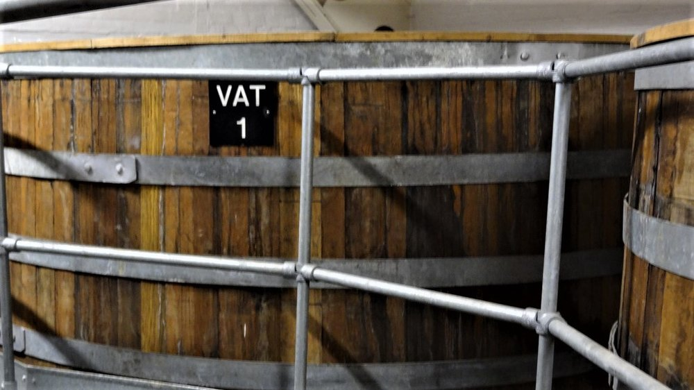 The vats where XXXXX are aged--and inoculated with wild yeast.
