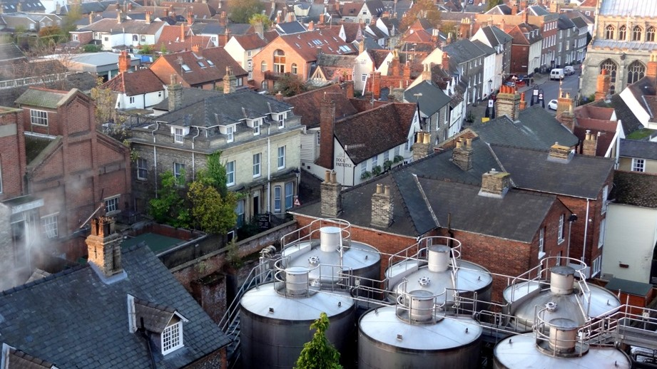 From the brewery's roof, looking town-ward. (The sugar beet fields were the other direction.