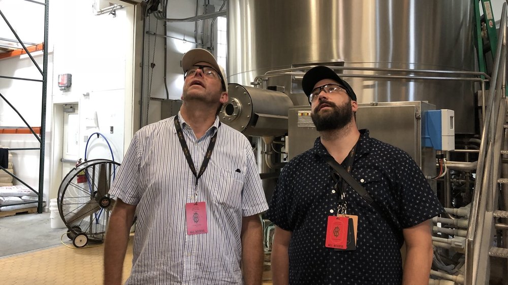 I visited Ommegang in August for the Belgium Comes to Cooperstown fest, and got my personal fave pic of the year on a brewery tour. That's brewer Phil Leinhart on the left and Good Beer Hunting's Michael Kiser on the right. What lofty thoughts lifted their gaze?