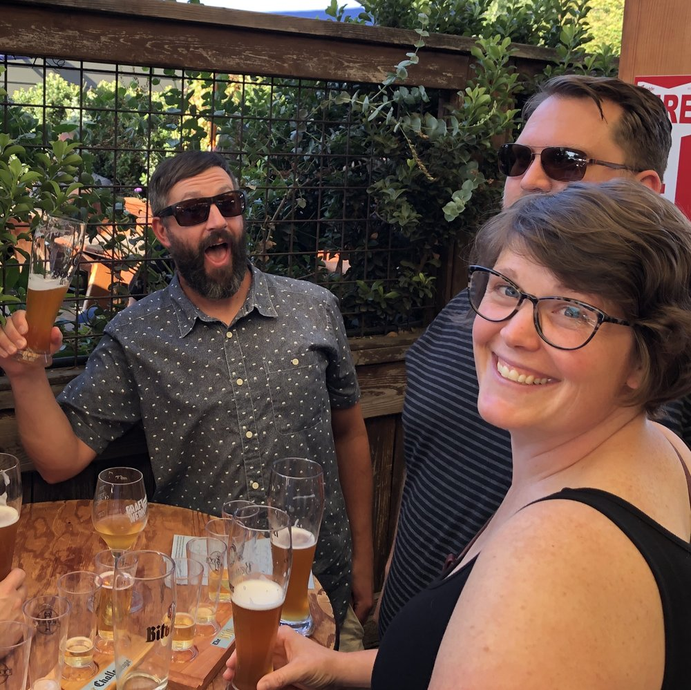 After-awards merriment. L-R Josh Pfriem, Kevin Davey, and Lisa Allen (whose brewery Heater Allen probably should have been included).