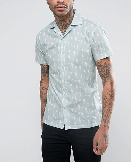 Skinny Shirt With Revere Collar  €30.00