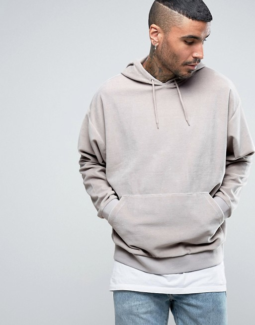 Oversized Velour Hoodie In Grey €21.00