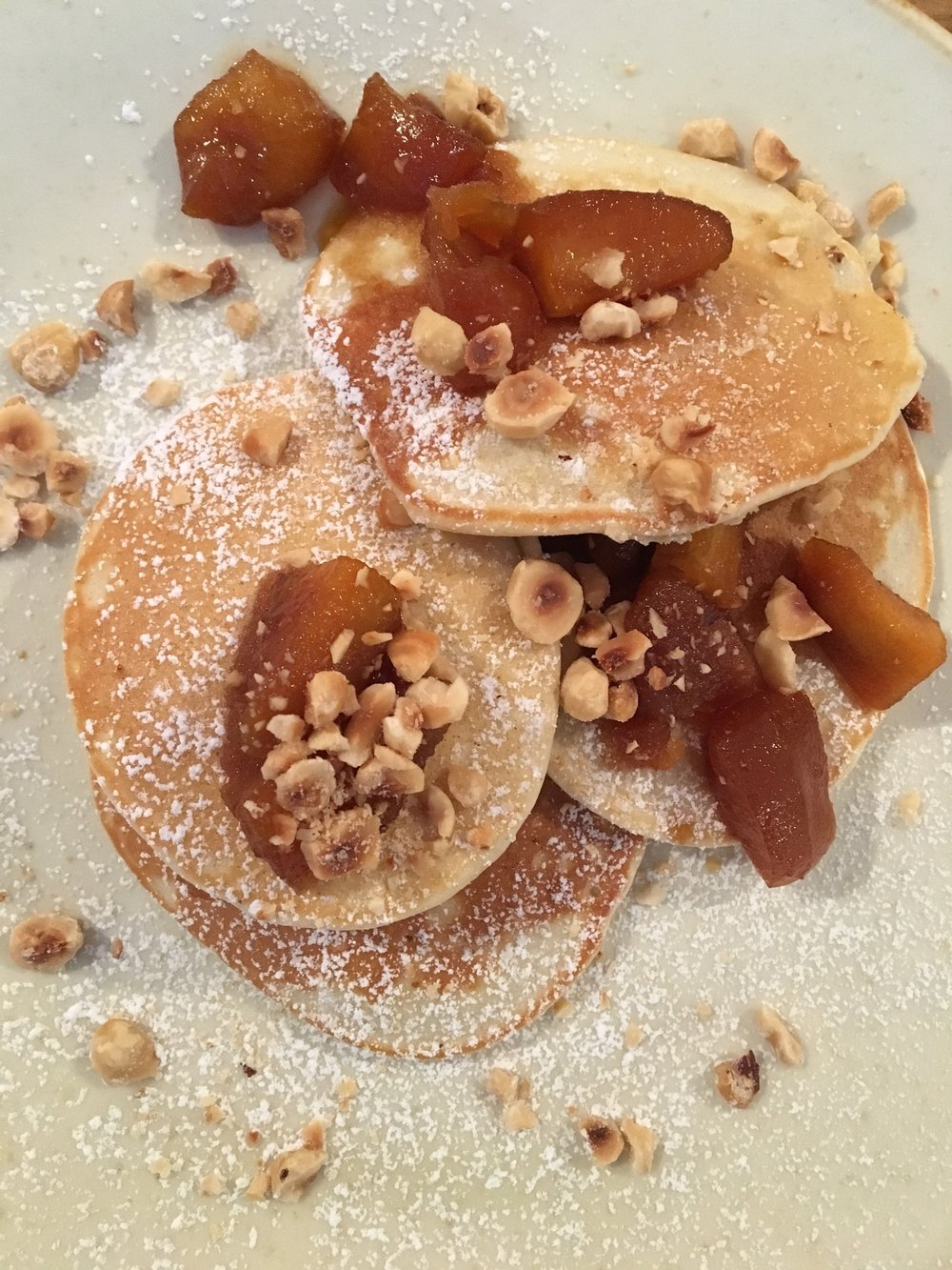 Pancakes with caramel apples & hazelnuts