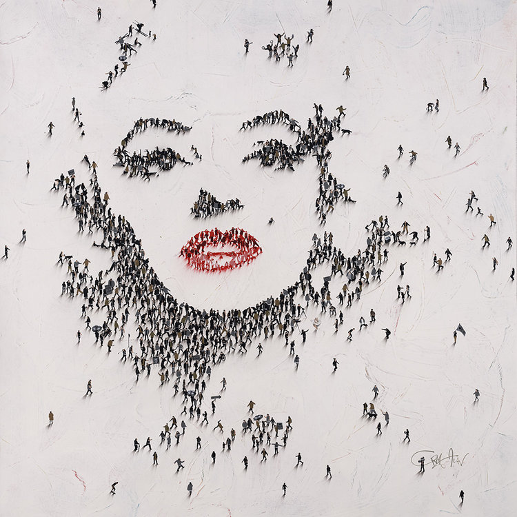 Small people, big star: This portrait of Marilyn Monroe by Atlanta-based artist Craig Alan may look like an aerial photo, but is actually created with dozens of tiny painted figures.