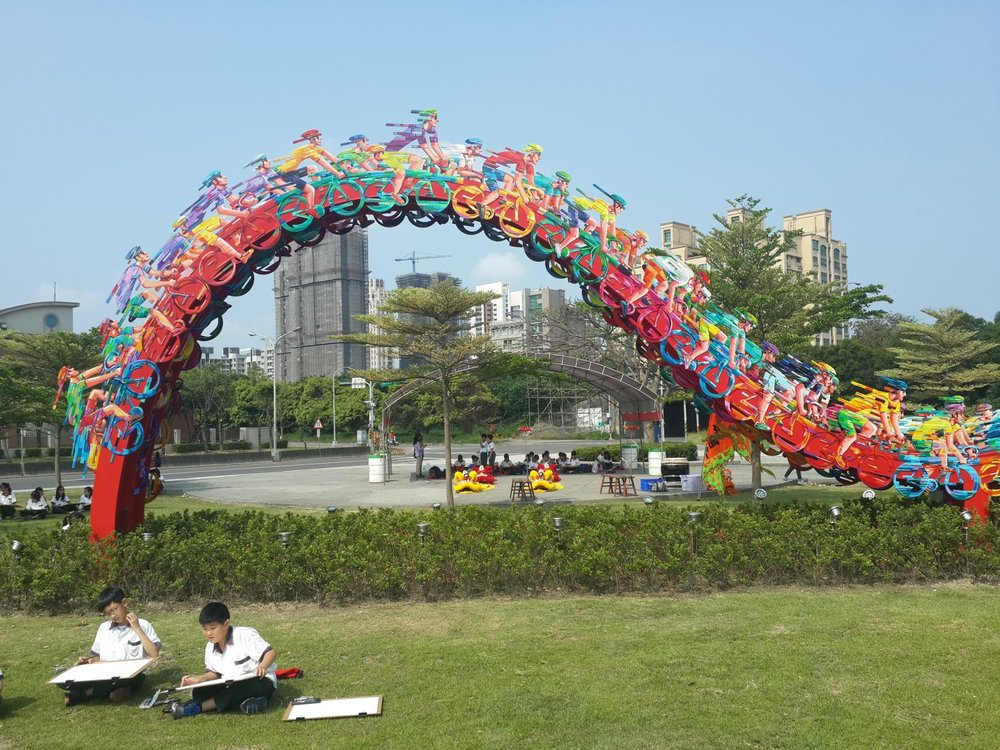 """Peloton Wave,"" done in 2014, is installed outside an athletic stadium inSinchu, South Korea. Photo courtesy of David Gerstein"
