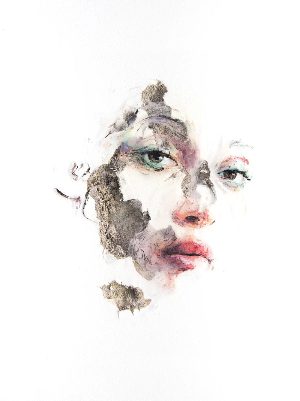 JUAN MIGUEL PALACIOS | WOUNDS LXXVII Technique mixte sur vinyle transparent et cloison | Mixed media on clear vinyl and drywall 2017 40,6 x 30,5 x 2,5 cm | 16 x 12 x 1 in