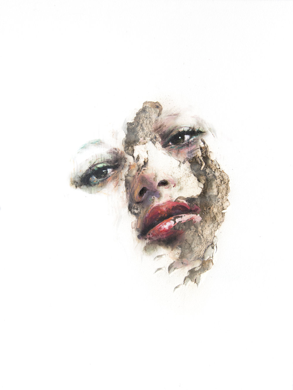 JUAN MIGUEL PALACIOS | WOUNDS LXXXI  Technique mixte sur vinyle transparent et cloison | Mixed media on clear vinyl and drywall  2017  40,6 x 30,5 x 2,5 cm |16 x 12 x 1 in