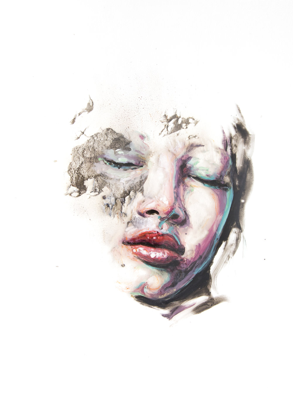 JUAN MIGUEL PALACIOS | WOUNDS LXXXII  Technique mixte sur vinyle transparent et cloison | Mixed media on clear vinyl and drywall  2017  40,6 x 30,5 x 2,5 cm |16 x 12 x 1 in